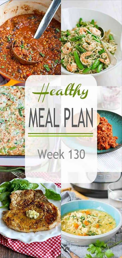We're using lots of pantry staples in this week's healthy meal plan! Many of the recipes are versatile enough to substitute in available ingredients. #mealplan #mealplanning #pantrystaples #dinner #mealprep #healthyrecipes
