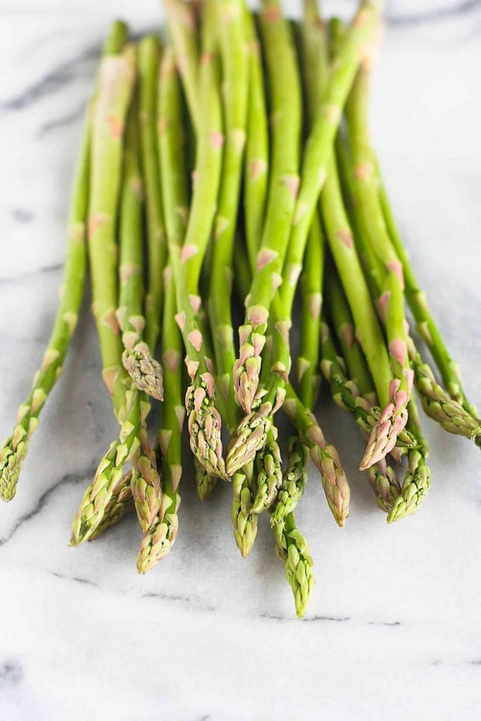 Asparagus spears on a white background