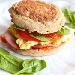 English Muffin Breakfast Sandwich with Pepper Jelly