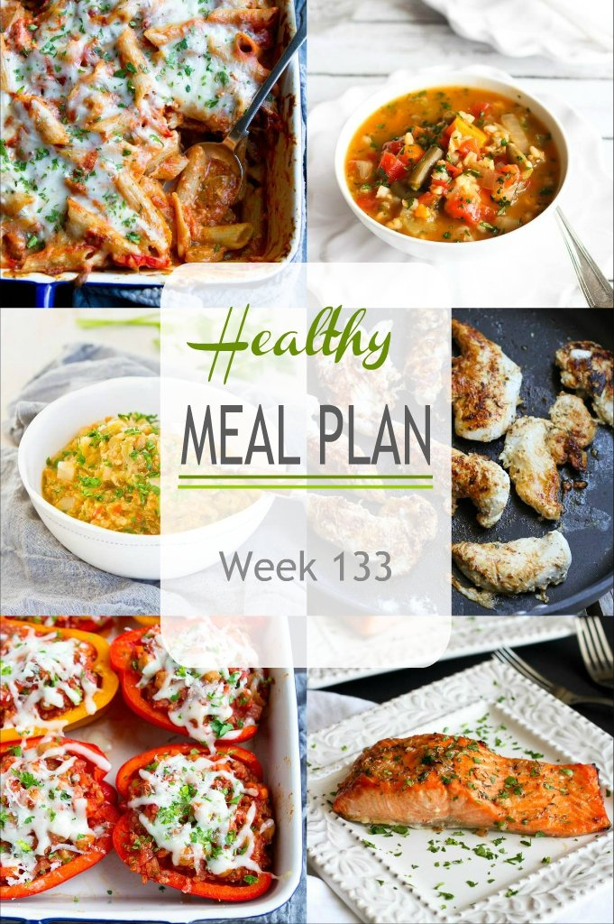 Vegetarian, chicken and salmon recipes...there's a bit of everything in this week's meal plan, each recipe including substitution suggestions to make the most of what you have on hand. #mealplanning #mealplan #dinner