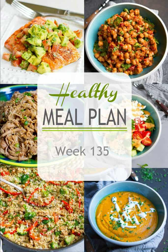 More healthy dinner recipes in this week's meal plan. Vegetarian, chicken, salmon and pork all take center stage. #mealplanning #mealplan #dinnerrecipes