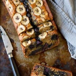 Skinny Banana Bread Recipe with Blueberries