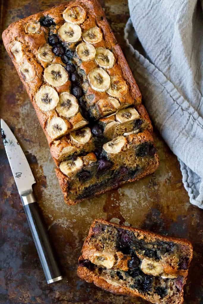 Skinny Banana Bread Recipe With Blueberries Cookin Canuck