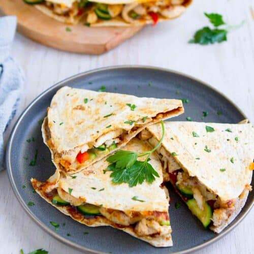 Hoisin Chicken Quesadillas With Veggies Easy Dinner Idea