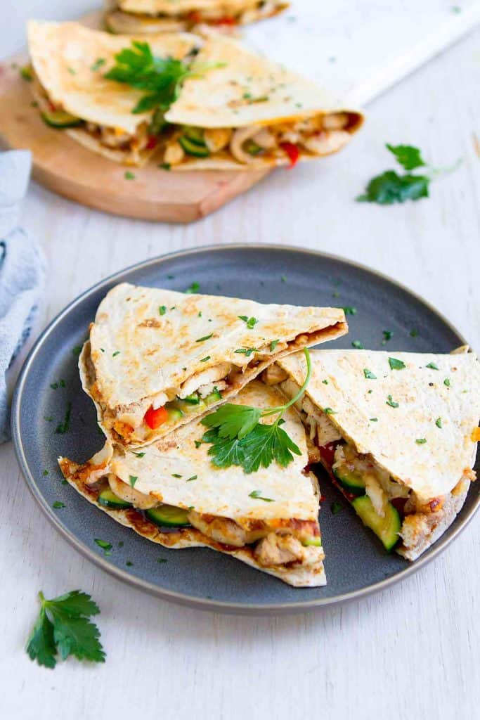 "Hoisin Chicken Quesadillas received more ""yum""s and other happy sounds from my family than anything else I've made this month! 248 calories and 5 Weight Watchers SP 