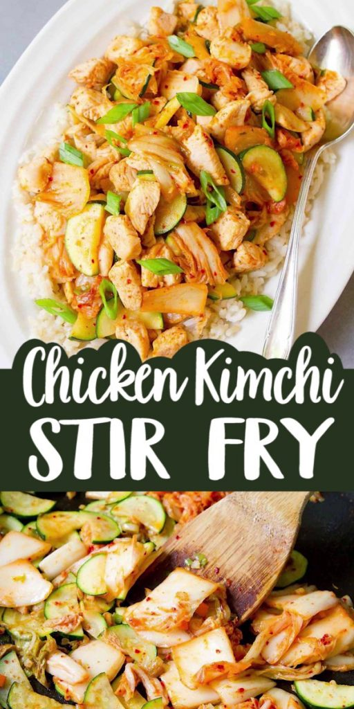 15 minute recipe! This easy Chicken Kimchi Stir Fry recipe boasts veggies, lean protein, probiotics and tons of flavor – all in one dish. 204 calories and 2 Weight Watchers SP | Low Carb | Recipes | Zucchini | With Vegetables | Healthy | Cabbage | Fermented Foods #kimchirecipes #stirfryrecipes #chickenstirfry #weightwatchers #healthychickenrecipes