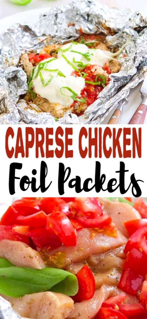Toss these Caprese Chicken Foil Packets in the oven or on the grill for an easy dinner. Great for camping! 307 calories and 5 Weight Watchers SP | For the Grill | For the Oven | Healthy | Campfire | Italian | Grilling recipes | Camp fire #foilpackets #hobopacks #capresechicken #chickenrecipes #healthychicken #weightwatchers