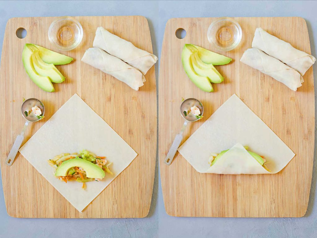 Collage of two photos of wrapping shrimp and avocado mix in egg roll wrappers.