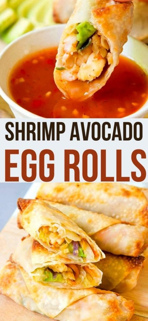Air fryer or oven, these Shrimp Avocado Egg Rolls are downright addictive! Tons of flavor, crispy outside & healthy fats all rolled into one. 115 calories and 3 Weight Watchers SP | Recipes | Wrapper recipes | Homemade | Baked | Appetizers | How to Make #eggrolls #shrimpeggrolls #airfryerrecipes #airfryereggrolls #weightwatchers #smartpoints