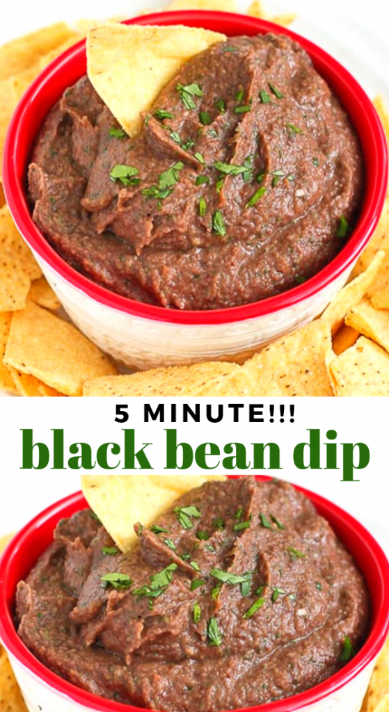 This easy, vegan 5-minute black bean dip is perfect for your next get-together, or keep it on hand for afternoon snacking. 80 calories and 0 Weight Watchers SP | Vegan | Plant Based | Snack Recipes | Spicy | Dairy Free #vegandips #veganrecipe #plantbased #blackbeandip #beandip