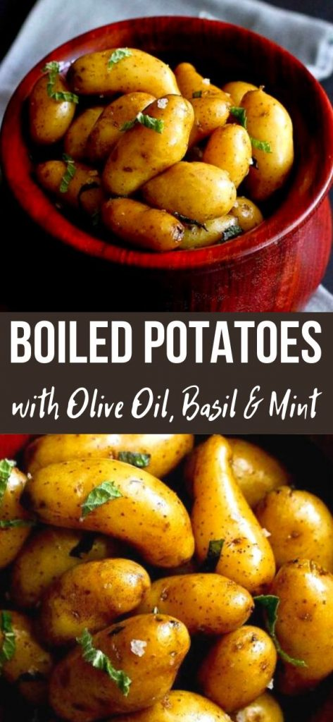 These boiled potatoes, with olive oil and fresh herbs, couldn't be simpler, but the flavors will convince you to make this over and over again. 87 calories and 3 Weight Watchers SP | Recipes | With skin on | How to | How long to | Recipes side dishes | How long do you #boiledpotatoes #potatorecipes #weightwatchers #sidedishes