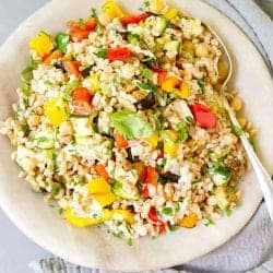 Farro Salad with Grilled Vegetables & Tahini Dressing