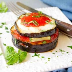 Grilled Eggplant Parmesan with Zucchini {Vegetarian}