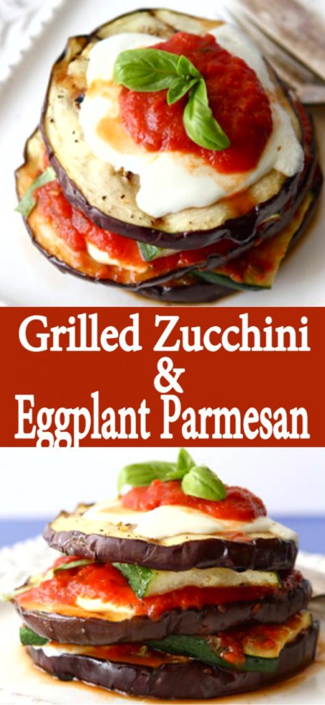 20 minute meal! This Grilled Eggplant Parmesan recipe with zucchini is a fantastic vegetarian option for your next barbecue! And it couldn't be easier to make. 276 calories and 8 Weight Watchers SP | Easy | Healthy | Best | Easy quick | Recipes bbq | Meatless | And zucchini recipes #eggplantrecipes #eggplantparmesan #zucchinirecipes #weightwatchers #vegetarianrecipes #meatlessmonday
