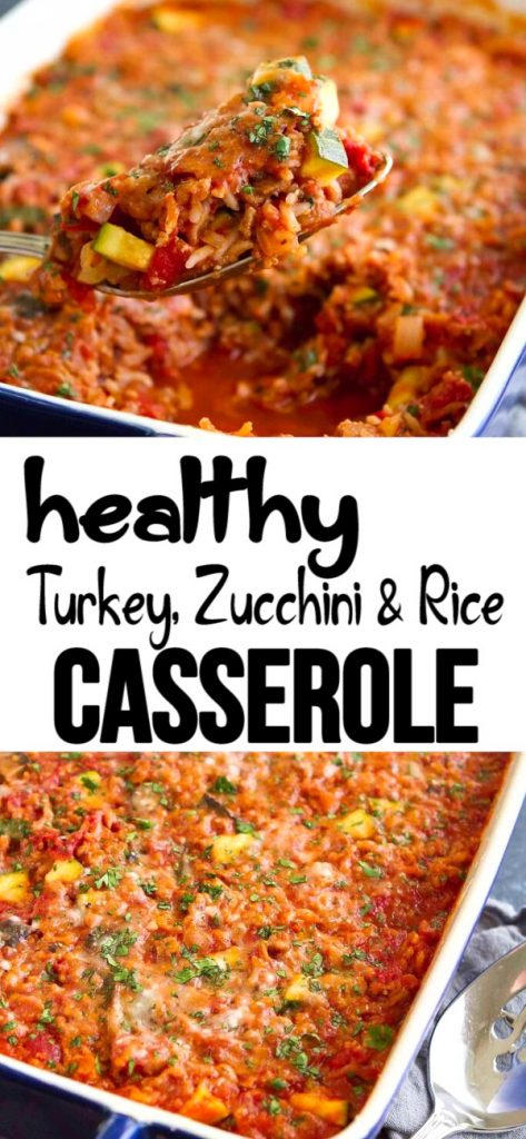 This healthy Turkey Rice Casserole is packed with zucchini and mushrooms. A simple dinner that works as leftovers, too. 262 calories and 4 Weight Watchers SP | Recipes easy | Recipes healthy | Ground turkey | Zucchini recipes | Recipes leftover easy #ricecasserole #turkeycasserole #zucchinirecipes #weightwatchers #cleaneating #healthycasseroles
