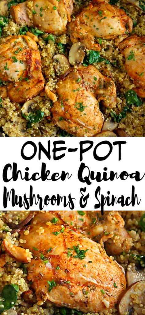 In this easy one-pot chicken recipe, chicken, quinoa, mushrooms and spinach nestle together for a healthy meal with minimal clean-up. 256 calories and 6 Weight Watchers Freestyle SP | Recipes healthy | Stovetop | And quinoa | Whole grain | Gluten free #onepotchicken #chickenquinoa #dinnerrecipes #onepotrecipes #onepotdinners #weightwatchers