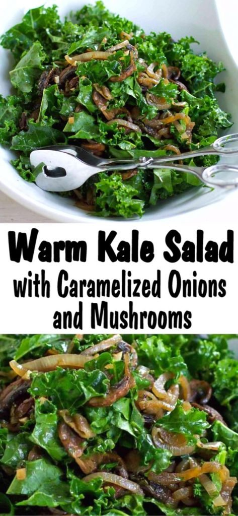 Caramelized onions and sautéed mushrooms make everything better. This warm kale salad is no exception! Add chickpeas or beans for extra protein. 102 calories and 2 Weight Watchers SP | Plant Based | Vegan | Vegetarian | Dressing | Recipes healthy | Easy #kalesalad #plantbased #veganrecipes #vegansalads #kalerecipes #weightwatchers
