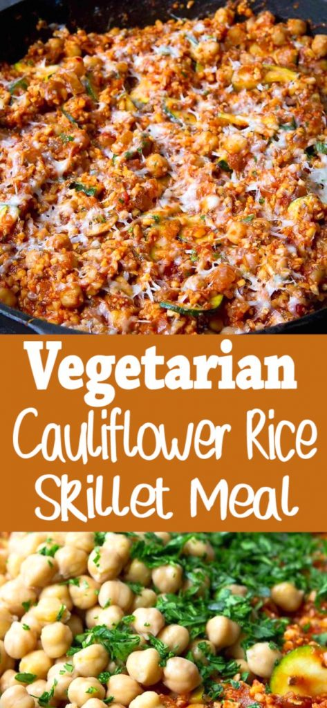 There is so much goodness in this easy Vegetarian Cauliflower Rice Skillet Meal! One-pot dinners are lifesavers on busy weeknights and this one is no exception. 246 calories and 5 Weight Watchers SP | No Meat | Meatless | Chickpea | Garbanzo beans | Mushroom | One Pot | Zucchini #healthydinners #cauliflowerrice #onepotmeal #onepotdinner