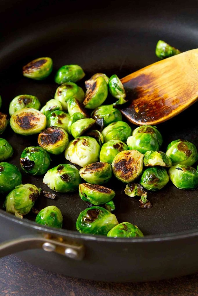Halved Brussels sprouts, golden brown in nonstick skillet