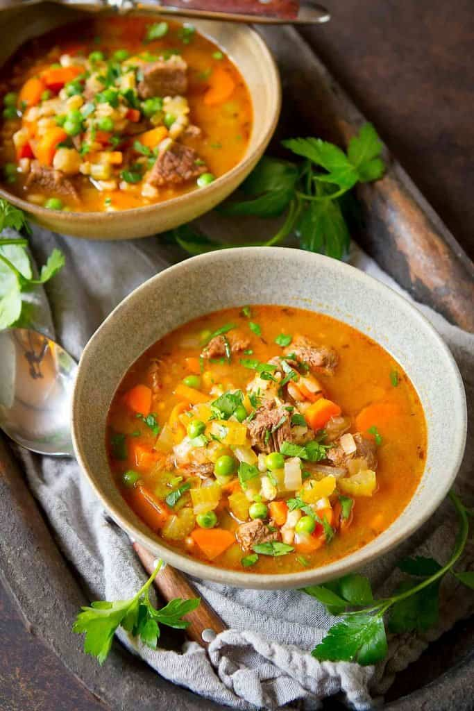 Beef Barley Soup (Instant Pot or stovetop) is a fantastic make-ahead or freezer soup, which makes it perfect for meal prep sessions. Plus, it's comforting and so tasty! | Recipes | Instapot | Hearty | Light | Recipes Instant Pot | Recipes stovetop | Easy | Best #beefbarleysoup #InstantPot #Instapot #InstantPotsoup #weightwatchers