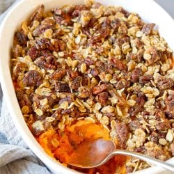 Healthy Sweet Potato Casserole with Chipotle Pecan Streusel