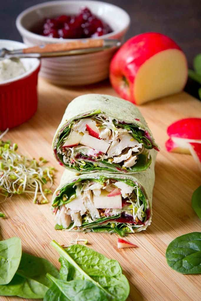 Leftover turkey cranberry sandwich, wrap-style! Cranberry sauce, cream cheese and tons of veggies make this easy sandwich both tasty and healthy. 203 calories and 4 Weight Watchers SP | Recipes | Healthy | Best | Leftovers | Thanksgiving | Cold | Ideas #turkeysandwich #turkeycranberry #turkeywrap #weightwatchers