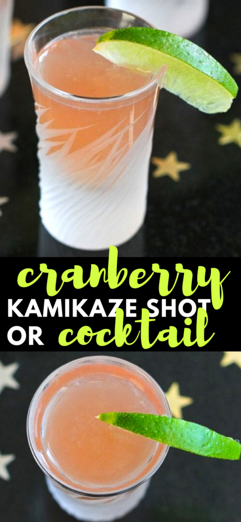 Kick up your next cocktail or holiday party with these easy, festive cranberry kamikaze shots! 57 calories and 2 Weight Watchers SP #cocktail #kamikaze #vodka