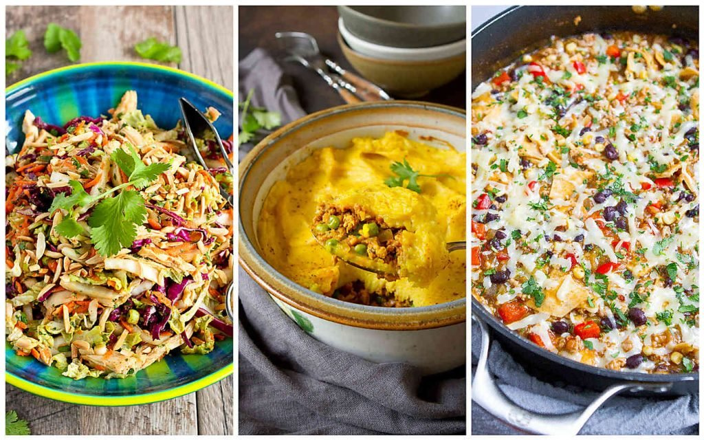 Collage of 3 quick healthy chicken dinner ideas - Thai salad, shepherd's pie and enchilada skillet meal.