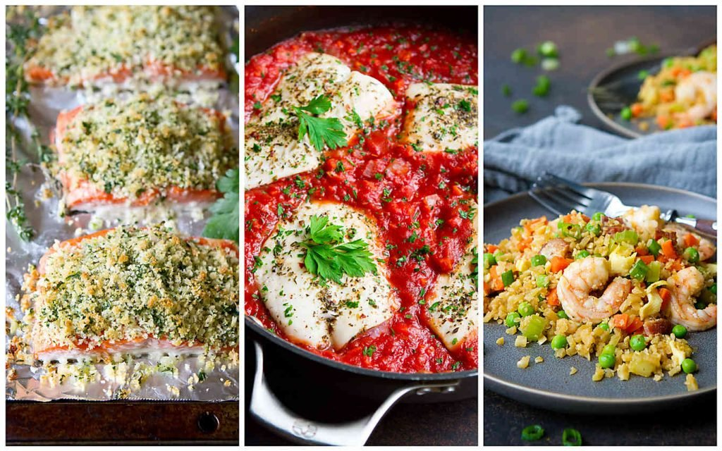 Collage of three fish recipes - Parmesan salmon, cod in tomato sauce and shrimp cauliflower fried rice.
