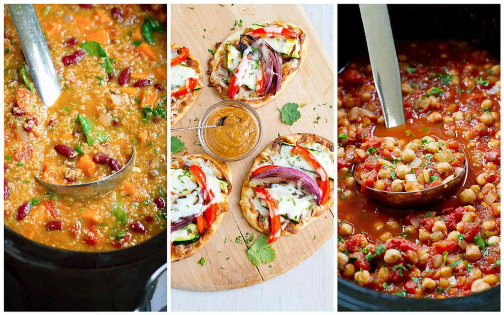 Collage of three easy healthy vegetarian meals - sweet potato soup, naan pizzas and chickpea dish.