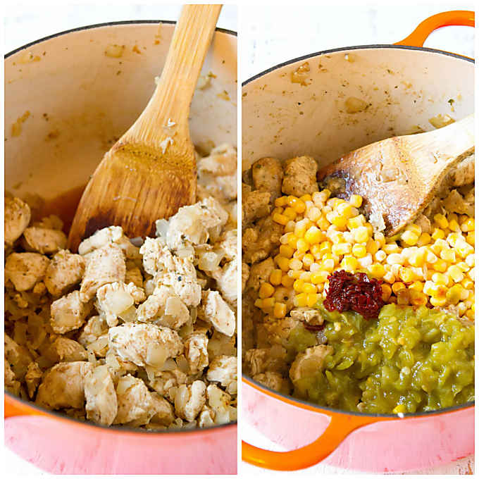 Two photos. One with cooked chicken pieces in a red ceramic pot. Other with corn and chiles added.