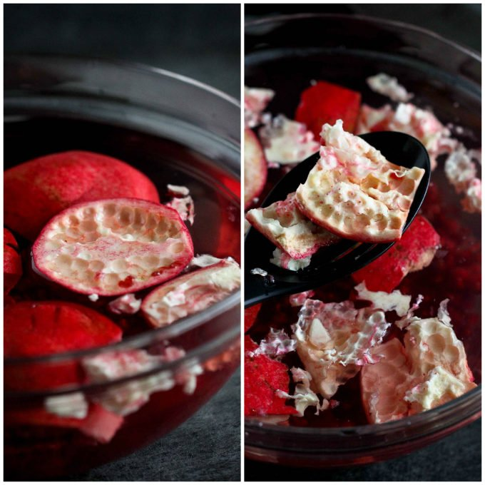 2 photos. Pieces of pomegranate shell floating in bowl of water. Scooping shells out of the water with a large spoon.