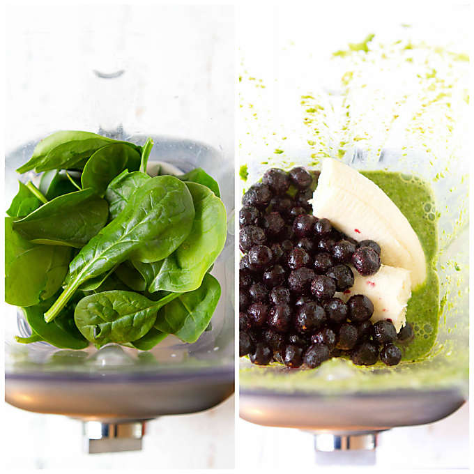 Collage of spinach in blender, and blueberries and banana in blender.