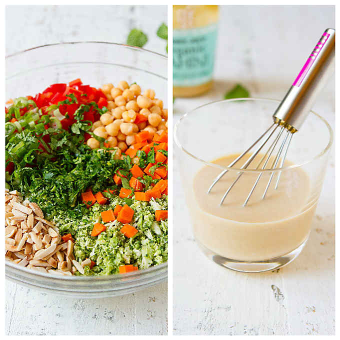 Two photos - ingredients for broccoli salad and tahini dressing in a glass with whisk