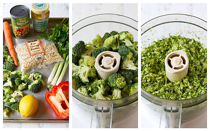 Three photos - ingredients for broccoli salad and broccoli in food processor