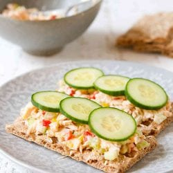 Tuna salad on crackers, topped with cucumber slices.
