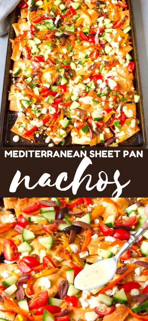 These sheet pan nachos are fantastic for healthy entertaining. Layered with goat cheese & vegetables, and drizzled with a hummus dressing. 182 calories and 5 Weight Watchers SP | Vegetarian | Easy | Recipe | Pita chips | Healthy | Best #sheetpannachos #healthynachos #vegetariannachos #appetizers #weightwatchers