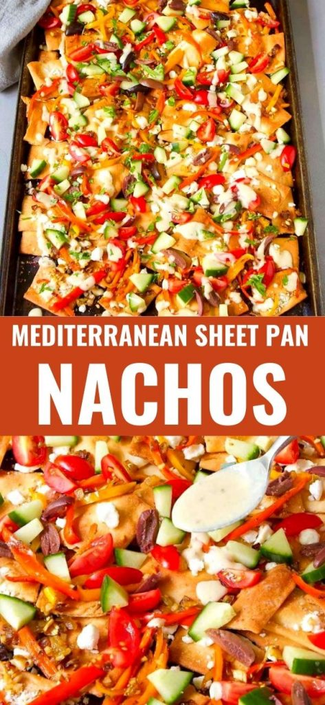 Beware! There's a good chance you won't be able to stop eating these Mediterranean sheet pan nachos. Goat cheese and a quick hummus dressing make the flavors pop. 182 calories and 5 Weight Watchers SP | Vegetarian | Easy | Recipe | Pita chips | Healthy | Best #sheetpannachos #healthynachos #vegetariannachos #appetizers #weightwatchers