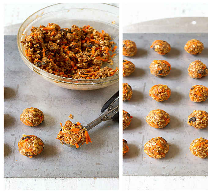 2 photos. Forming energy balls with a cookie scoop and no-bake energy bites lined up on baking sheet.