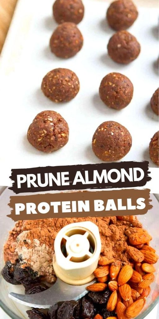 Fuel up post-workout or curb that sugar craving with these easy Prune Almond Protein Balls. Keep your kitchen stocked with a double batch! 109 calories and 3 Weight Watchers SP for 2 protein balls. | Healthy | No Bake | Energy Bites | Chocolate | Low Carb | Plant Based | Vegan | Powder | For Kids | Gluten Free #plantbased #energybites #proteinballs #vegansnacks #glutenfree #wwrecipes #smartpoints