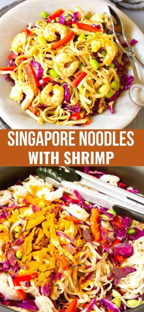 Singapore noodles, with a few changes, is one of my family's favorite meals. Shrimp, edamame and tons of veggies & flavor! 274 calories and 5 Weight Watchers SP | Recipe | Easy | With Shrimp | Healthy | Curry powder #singaporenoodles #ricenoodles #currynoodles #shrimprecipes #dinnerrecipes