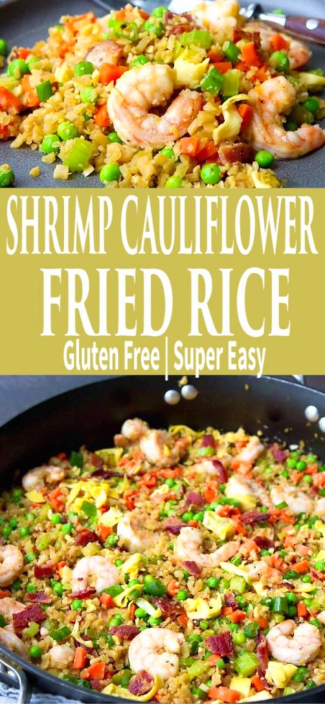 Ditch the takeout and serve up a batch of this 30-minute low carb Shrimp Cauliflower Fried Rice! 225 calories and 2 Weight Watchers SP | Recipes easy | Healthy | Dinner | Recipes shrimp #shrimprecipes #lowcarb #cauliflowerfriedrice #friedrice #weightwatchers #wwblueplan #wwgreenplan #wwpurpleplan