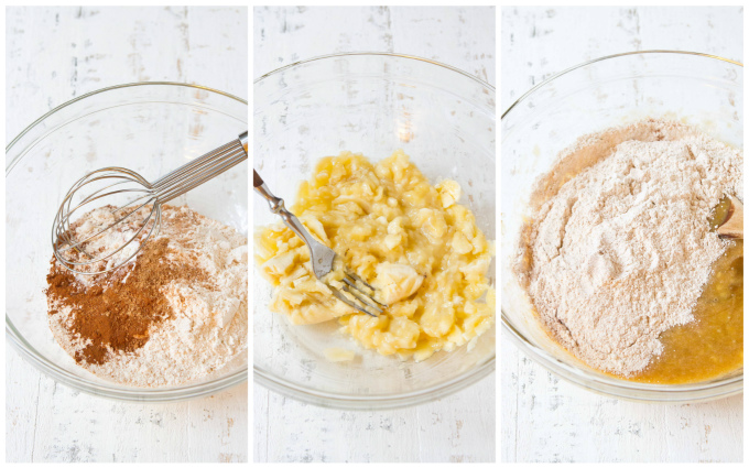 Flour and spices, mashed bananas and the two mixed in glass bowls.