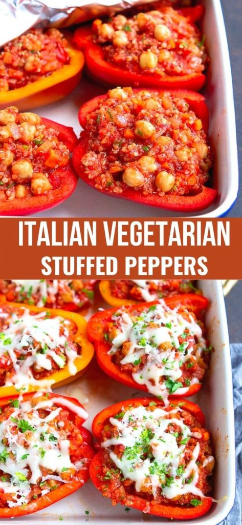 These Stuffed Bell Peppers (Vegetarian) are stuffed with chickpea, quinoa and an easy tomato sauce. 249 calories and 3 Weight Watchers SP | Quinoa | Chickpeas | Recipe #stuffedpeppers #vegetarianstuffedpeppers #vegetarianreccipes