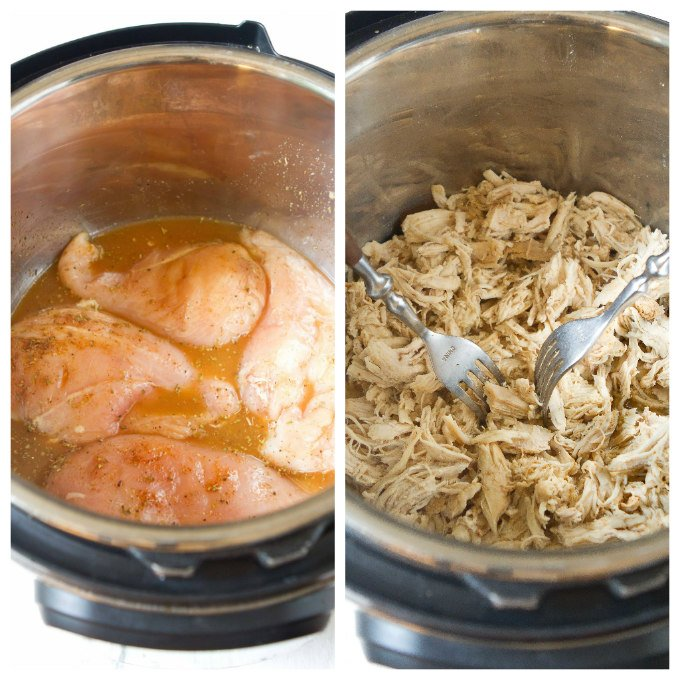 Raw chicken breast and spices, plus cooked shredded chicken in Instant Pot.