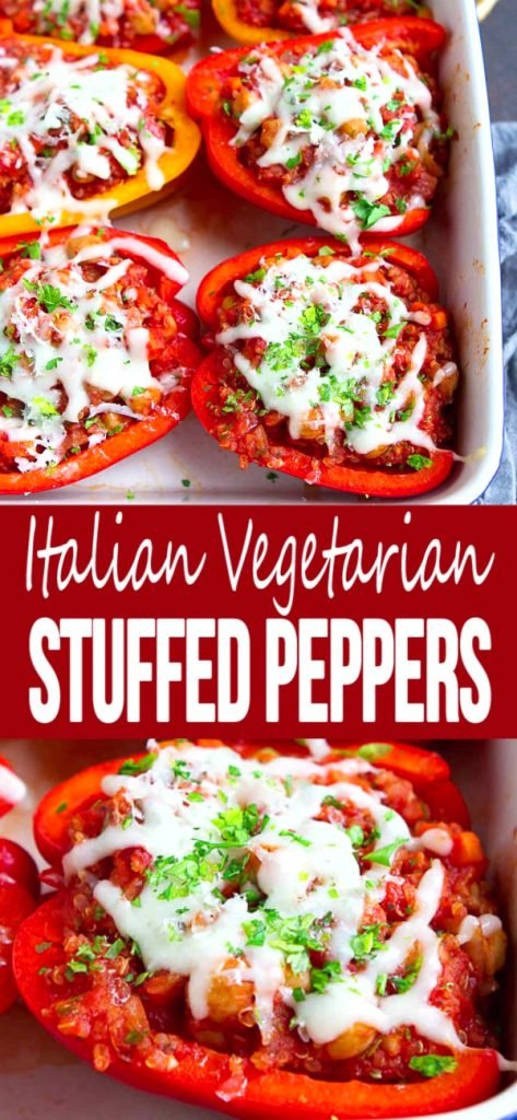 Why should meat lovers get to have all the fun?! These healthy Italian-Style Vegetarian Stuffed Peppers are packed with all of the flavors of this classic dish. 249 calories and 3 Weight Watchers SP | Quinoa | Chickpeas | Recipe #stuffedpeppers #vegetarianstuffedpeppers #vegetarianreccipes