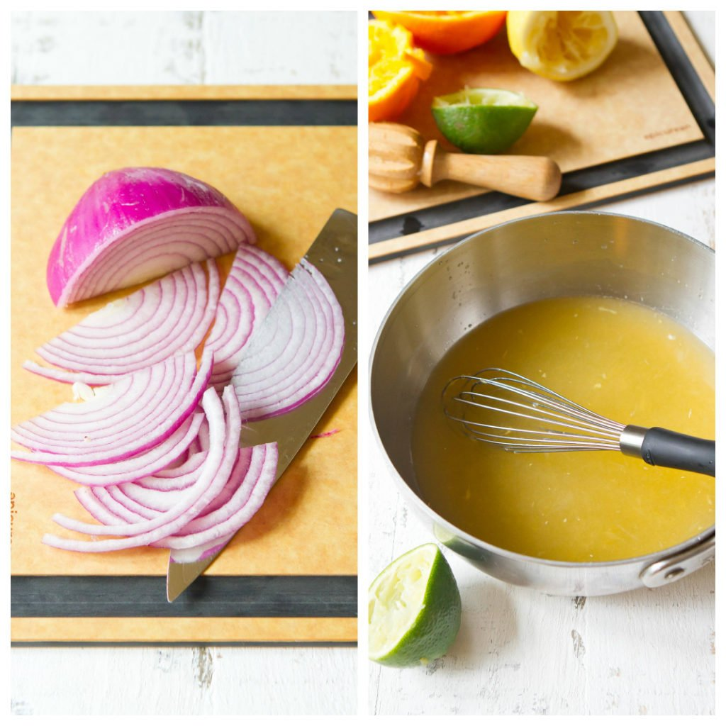 Slice onions on cutting board and citrus juice mixture in saucepan.