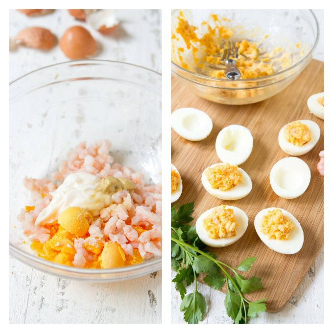 Egg yolks, mayonnaise and shrimp in glass bowl, plus stuffing hard boiled eggs.