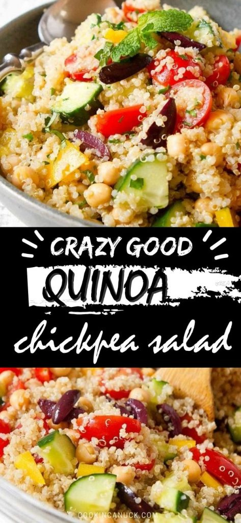 This bright and colorful quinoa chickpea salad is packed with vegetables and flavored with an easy lemon vinaigrette. Great for plant based dinners or sides. 225 calories and 5 Weight Watchers SP | Recipes | Healthy | Dressing | Vegan | Vegetarian #quinoasalad #chickpeasalad #plantbased #weightwatchers