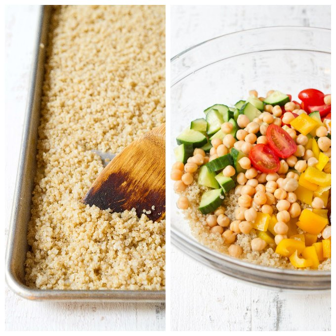 Cooked quinoa on baking sheet and in bowl with vegetables and chickpeas